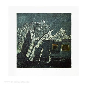 Bev Thompson 2, Canada, Jarkot, Nepal, Etching, Viscosity, Intaglio, 2010