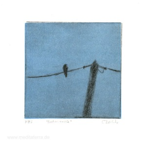 Carolyn, Dodds 1, Australia, Bird On A Wire, Drypoint, 10 x 10, 2015