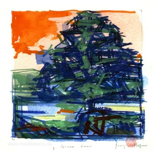 Joseph Ryan, 2, UK, Blue Tree, Watercolour, 2015, 12.5 x 12.5