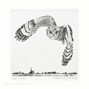 Marian Vergouwen 1, Netherlands, Vlucht, Flight, Lijnets, Etching, 2015, 10 x 10