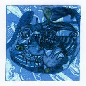Therese Wilkins 2, Australia, Figurative In Blue, Lino Intaglio, 13 x 13, 2015
