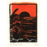 Béatrice Archinard 3, Switzerland, Sunset, 2016, Linocut, 7,5 x 10,.5 cm