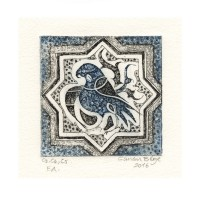Canan Bilge 1, Turkey, Bird on Tile, 2016, Etching. Drypoint, Aquatint, 7,4 x 7,4 cm
