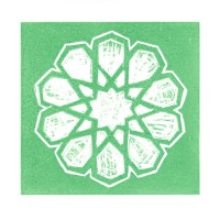 Guler Yildiz 1, Turkey, Green Star, 2016, Linocut, 12 x 12 cm