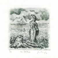 Luis Arias, Costa Rica, The Selkie, 2016, Engraving, 10 x 11 cm