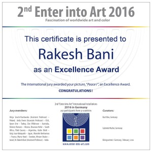 """Miniprint contest - certificate """"Enter into Art"""", Germany"""