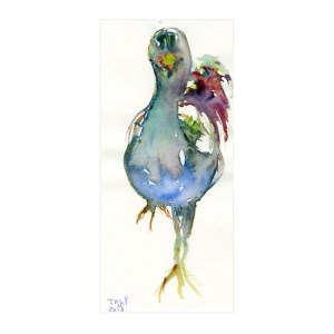 Tajel 2, France, The Hen, 2018, Aquarelle, 17,8 x 8 cm