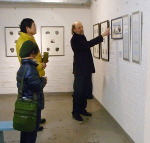 Takanori Iwase, his wife and Kurt Ries in the solo exhibition of the Japanese winner 2017