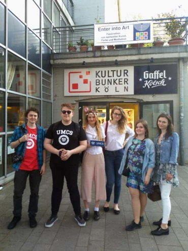 Polish students at the entrance of the cultural center in Cologne