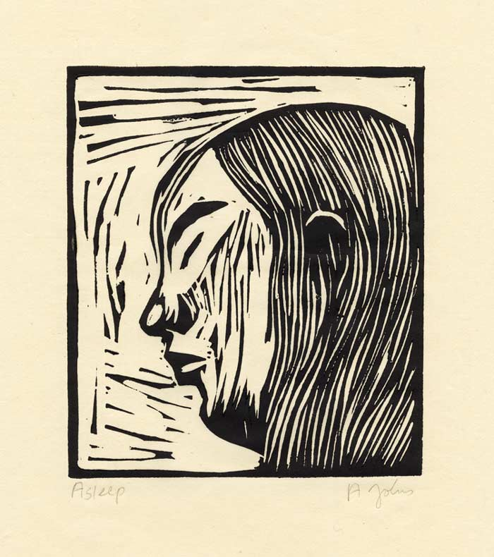 Andreas Johns 1, USA, Asleep, 2018, Linocut, 16 x 13,5 cm