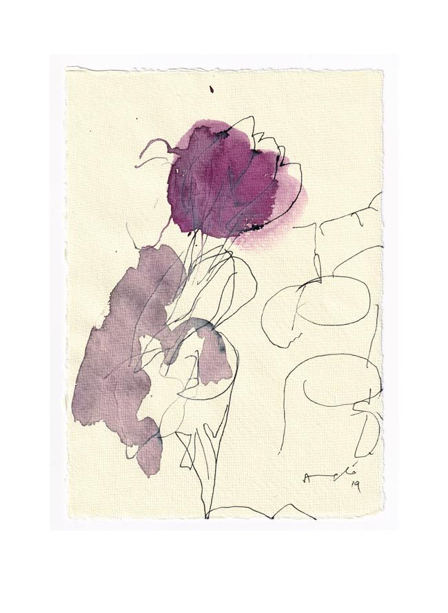 Angelo de Martin, Italy, Violet, 2019, Ink on Paper, 21 x 16 cm
