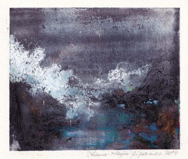 Anna-Maija Rissanen 1, Finland, Clair de Lune, 2019, Mixed Media (Watercolour, Etching), 10 x 7 cm