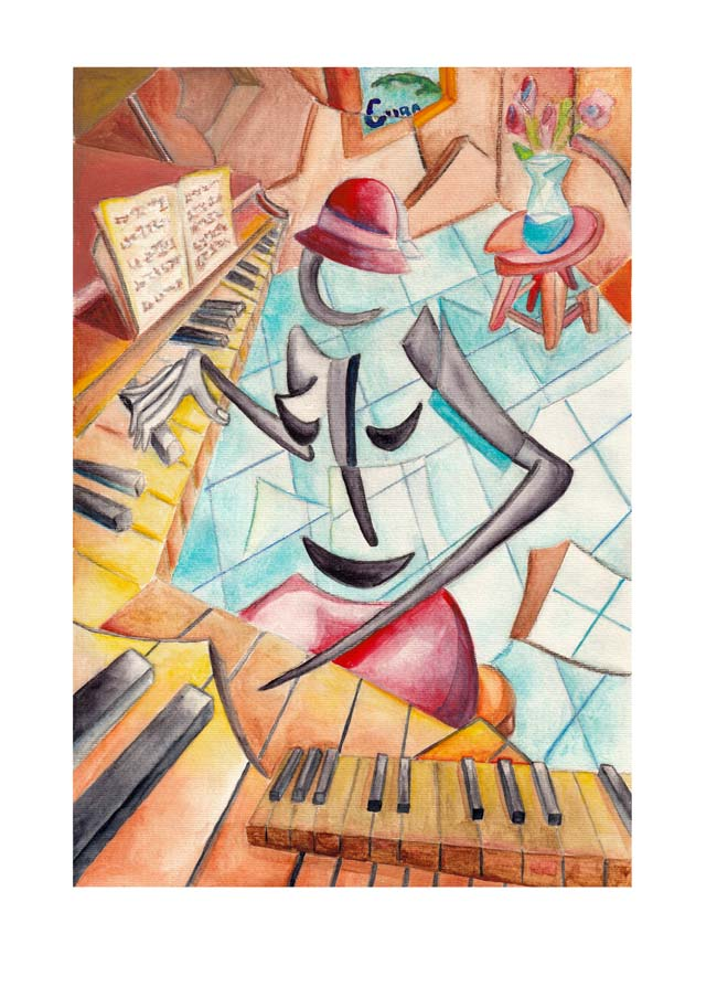 Derwin Leiva 1, USA, La Pianista, 2019, Water Color on Paper, 29 x 20 cm