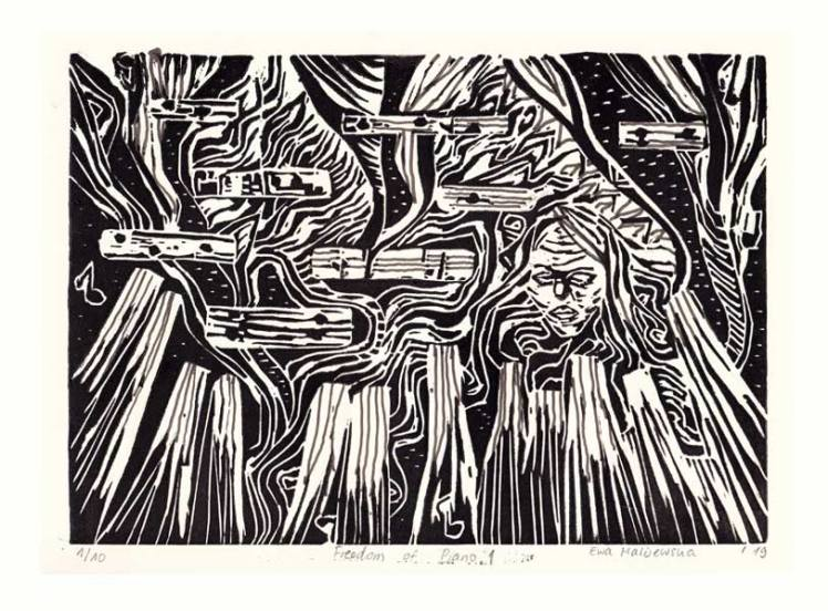 Ewa Malijewska 1, The Netherlands, Freedom of Piano, 2019, Linocut, 19 x 26 cm