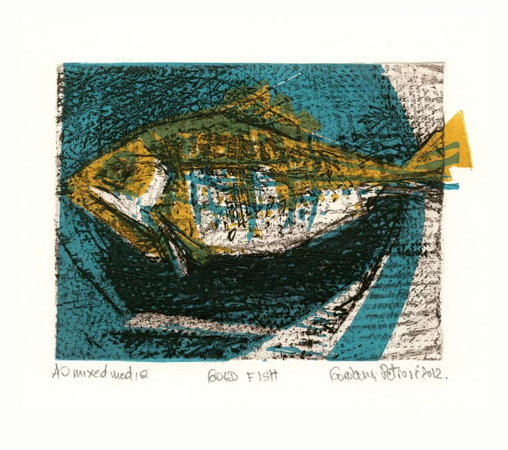 Gordana Petrović, Serbia, Gold Fish, 2012, Mixed Media, Dry Point, Linocut, 12 x 15,5 cm