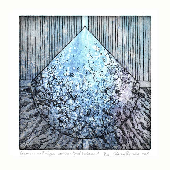 Hanna Popruha 2, Poland, Elementum II - Aqua, 2019, Etching, Digital Background, 16 x 16 cm