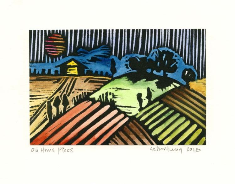 John Schartung 1, USA, Old Home Place, 2018, Lino Cut, Watercolor, 17,5 x 21 cm