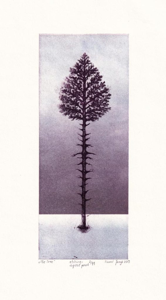 Kamil Jerzyk 1, Poland, The Tree, 2019, Etching and Digital Print, 20 x 8 cm