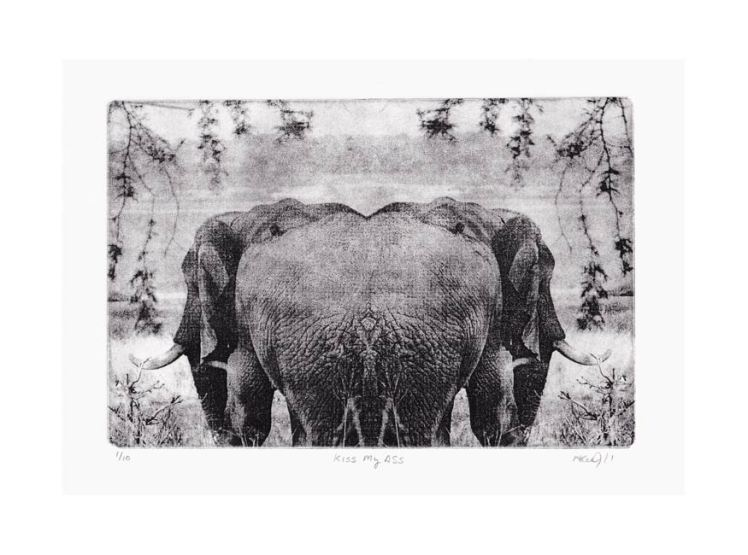 Monica Lee Johnson 1, USA, 1/10 Kiss My Ass, 2015, Solarplate, 20 x 29 cm