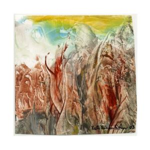 Ruth Helena Fischer 1, Italy, Arrival on The Hill, 2003, 20 x 20 cm, Encaustic on Carton