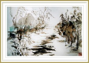 "Sylviane Leblond 1, France, Winter Landscape, 2013, Chinese Calligraphic Painting on Rice Paper ""marouflé"""