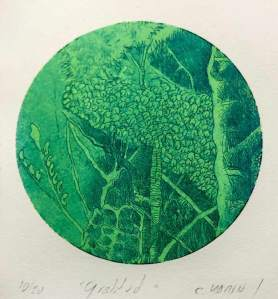 Carlos Marin, Colombia, Gratitud, 2020, two color etching on paper, 19 x 15 cm