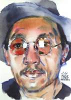 Watana Kreetong, Thailand, Self Portrait, 2020, watercolor on paper, 15 x 21 cm